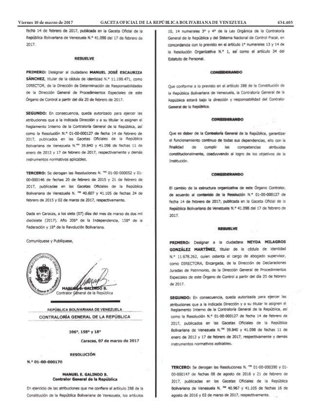 Viernes 10 de marzo de 2017 GACETA OFICIAL DE LA REPÚBLICA BOLIVARIANA DE VENEZUELA 434.405