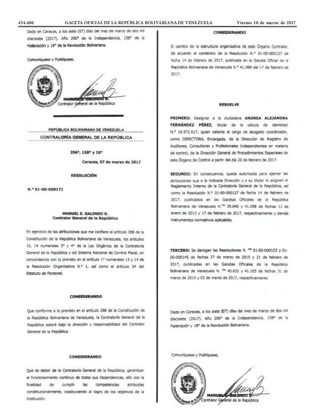 434.406 GACETA OFICIAL DE LA REPÚBLICA BOLIVARIANA DE VENEZUELA Viernes 10 de marzo de 2017