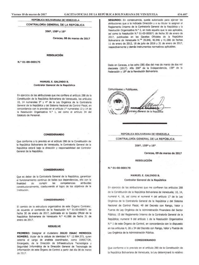 Viernes 10 de marzo de 2017 GACETA OFICIAL DE LA REPÚBLICA BOLIVARIANA DE VENEZUELA 434.407