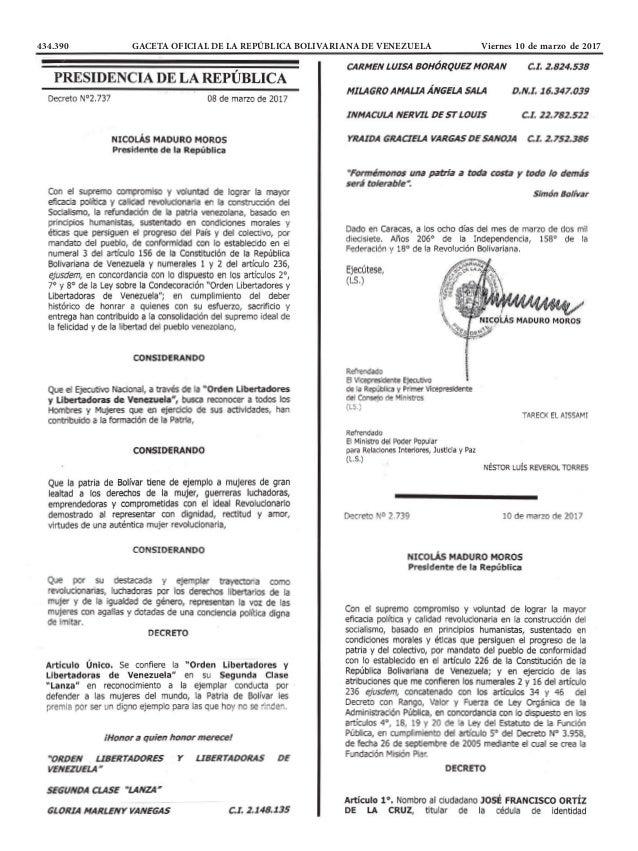 434.390 GACETA OFICIAL DE LA REPÚBLICA BOLIVARIANA DE VENEZUELA Viernes 10 de marzo de 2017