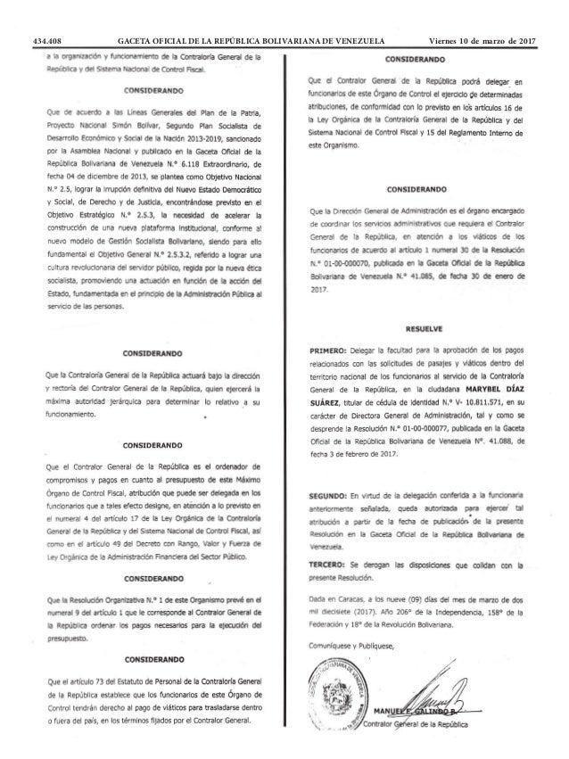 434.408 GACETA OFICIAL DE LA REPÚBLICA BOLIVARIANA DE VENEZUELA Viernes 10 de marzo de 2017