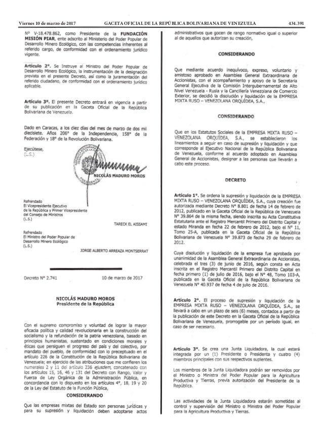Viernes 10 de marzo de 2017 GACETA OFICIAL DE LA REPÚBLICA BOLIVARIANA DE VENEZUELA 434.391
