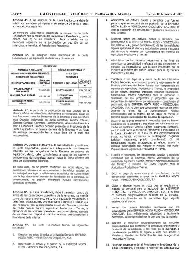 434.392 GACETA OFICIAL DE LA REPÚBLICA BOLIVARIANA DE VENEZUELA Viernes 10 de marzo de 2017