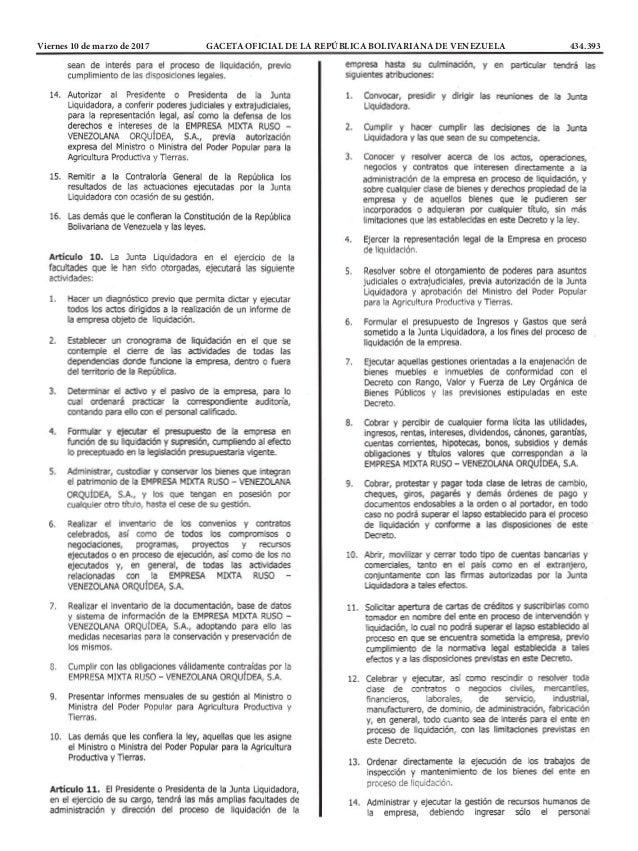 Viernes 10 de marzo de 2017 GACETA OFICIAL DE LA REPÚBLICA BOLIVARIANA DE VENEZUELA 434.393