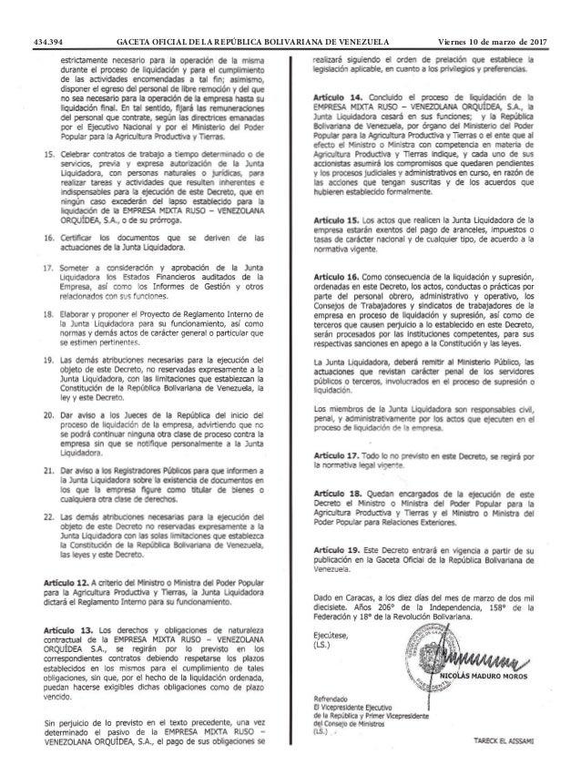 434.394 GACETA OFICIAL DE LA REPÚBLICA BOLIVARIANA DE VENEZUELA Viernes 10 de marzo de 2017