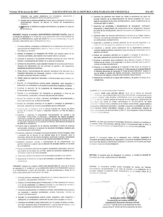 Viernes 10 de marzo de 2017 GACETA OFICIAL DE LA REPÚBLICA BOLIVARIANA DE VENEZUELA 434.397