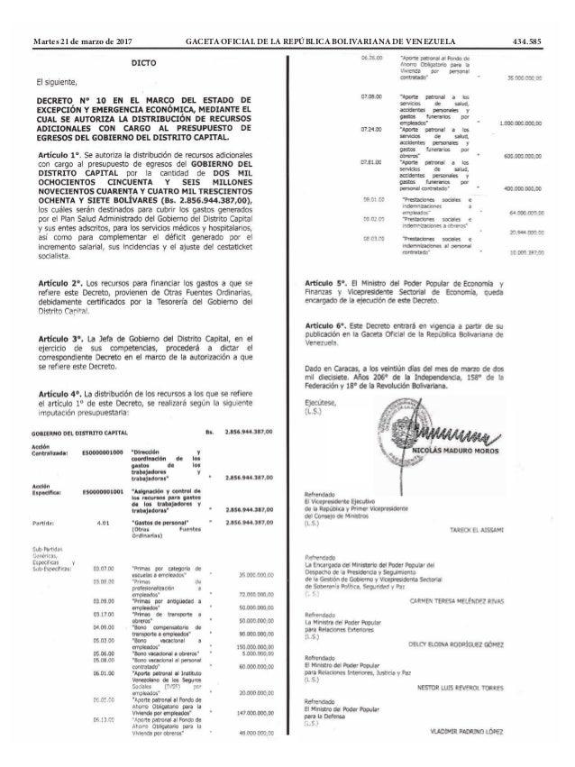 Martes 21 de marzo de 2017 GACETA OFICIAL DE LA REPÚBLICA BOLIVARIANA DE VENEZUELA 434.585