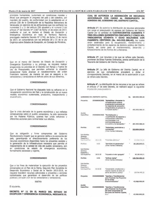 Martes 21 de marzo de 2017 GACETA OFICIAL DE LA REPÚBLICA BOLIVARIANA DE VENEZUELA 434.587