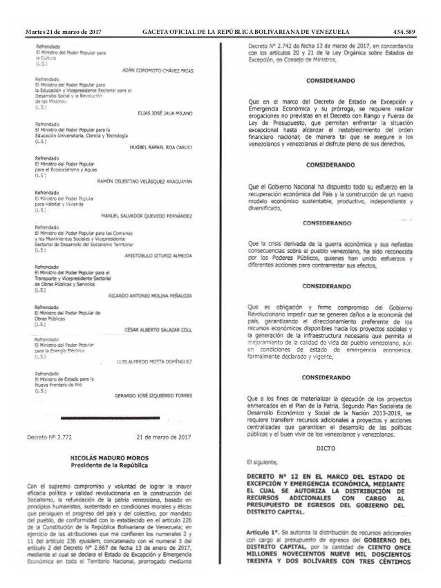 Martes 21 de marzo de 2017 GACETA OFICIAL DE LA REPÚBLICA BOLIVARIANA DE VENEZUELA 434.589