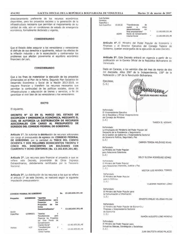 434.592 GACETA OFICIAL DE LA REPÚBLICA BOLIVARIANA DE VENEZUELA Martes 21 de marzo de 2017