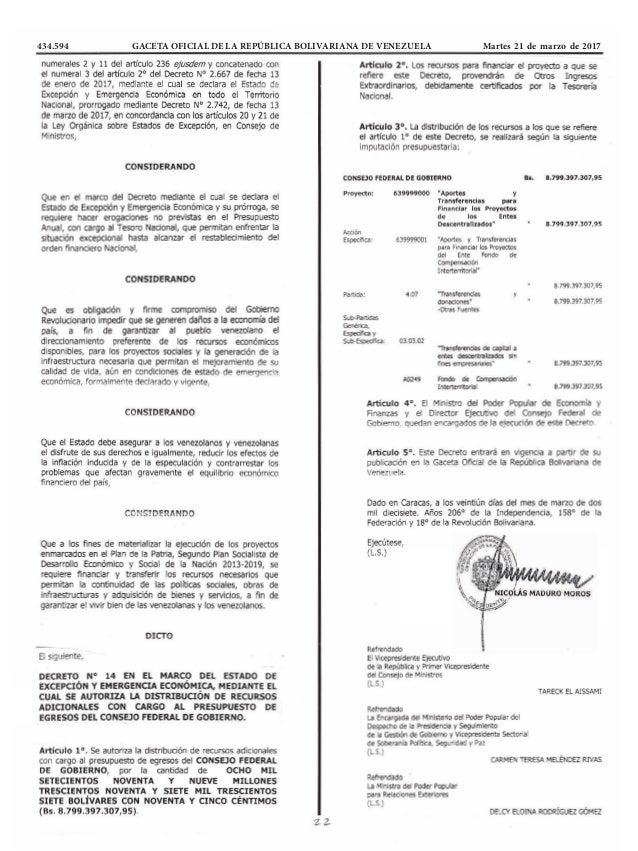 434.594 GACETA OFICIAL DE LA REPÚBLICA BOLIVARIANA DE VENEZUELA Martes 21 de marzo de 2017