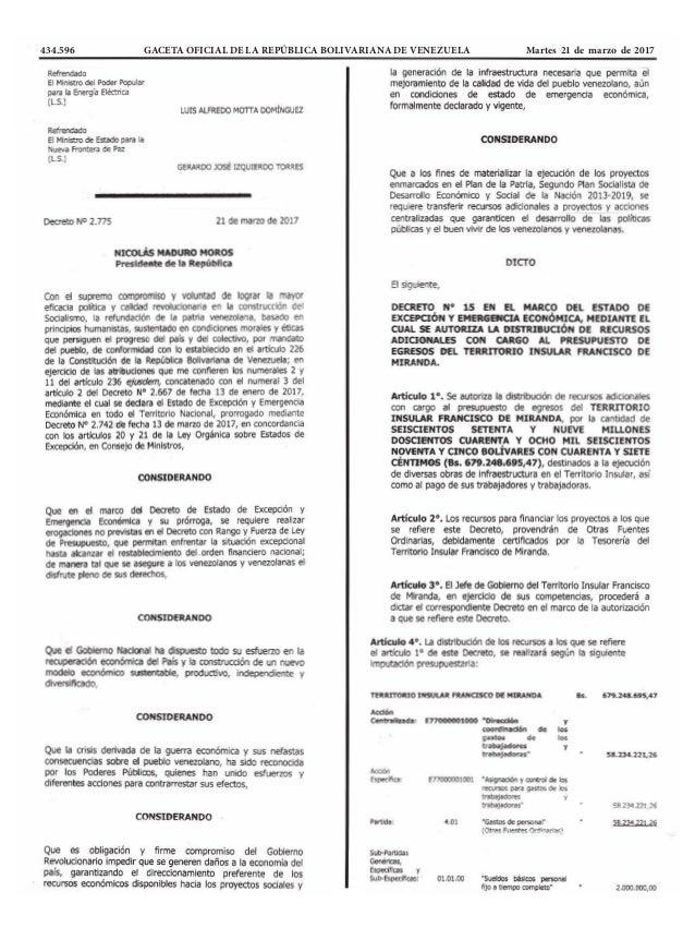 434.596 GACETA OFICIAL DE LA REPÚBLICA BOLIVARIANA DE VENEZUELA Martes 21 de marzo de 2017