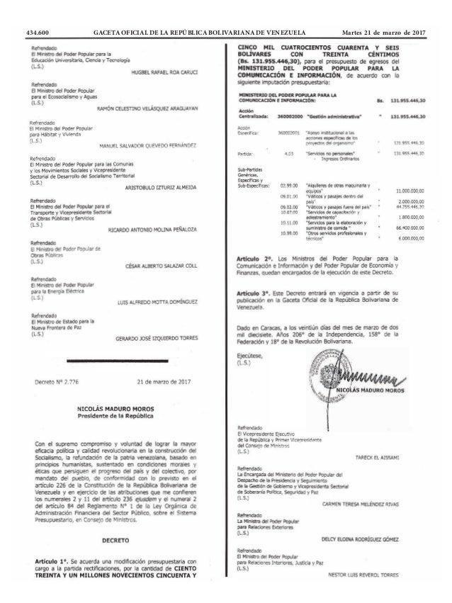 434.600 GACETA OFICIAL DE LA REPÚBLICA BOLIVARIANA DE VENEZUELA Martes 21 de marzo de 2017
