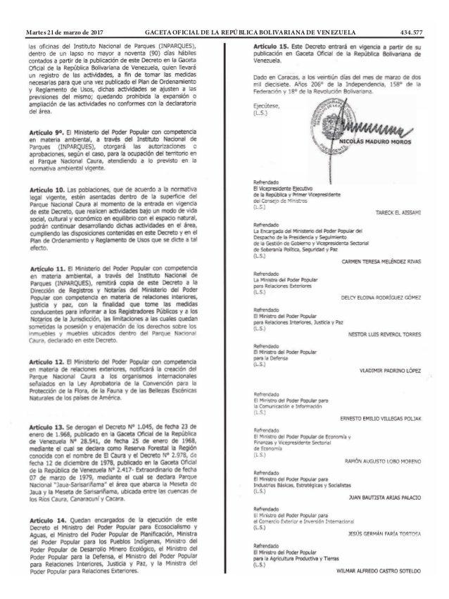 Martes 21 de marzo de 2017 GACETA OFICIAL DE LA REPÚBLICA BOLIVARIANA DE VENEZUELA 434.577
