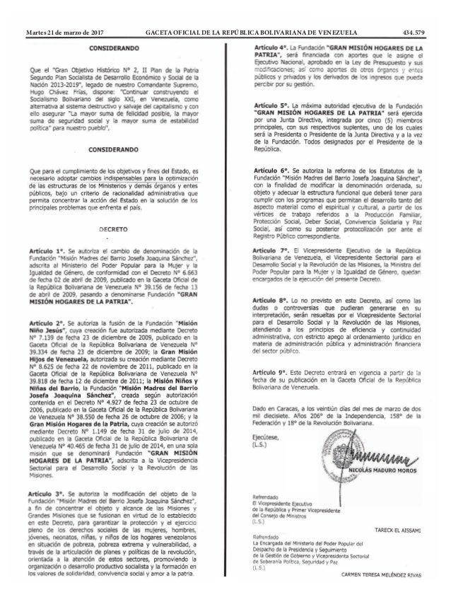 Martes 21 de marzo de 2017 GACETA OFICIAL DE LA REPÚBLICA BOLIVARIANA DE VENEZUELA 434.579