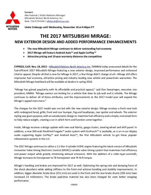 More  Contact: Alex Fedorak | Public Relations Manager Mitsubishi Motors  North America, ...
