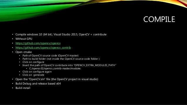 Install, Compile, Setup, Setting OpenCV 3 2, Visual C++ 2015