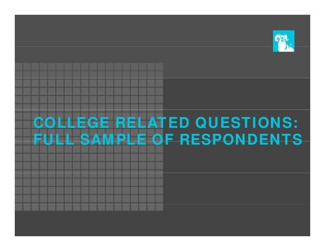 COLLEGE RELATED QUESTIONS: FULL SAMPLE OF RESPONDENTS