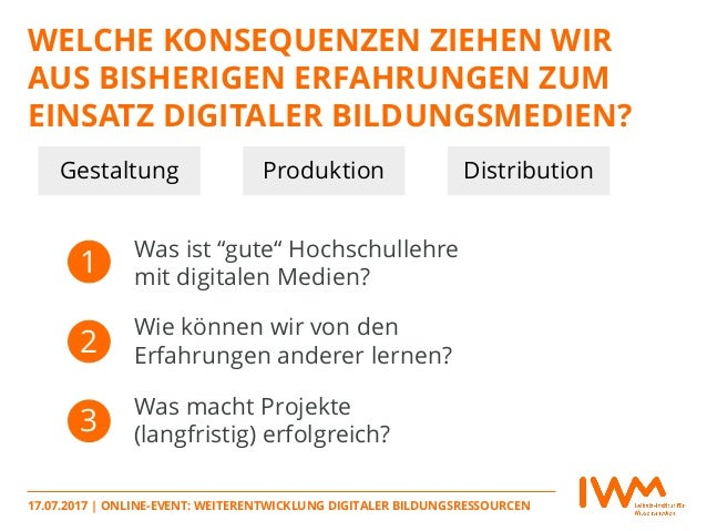 Weiterentwicklung digitaler Bildungsressourcen – was planen die Akteure? (Slides: Johannes Moskaliuk) Slide 3