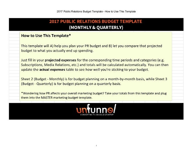 public relations agreement template - 2018 public relations marketing budget excel template