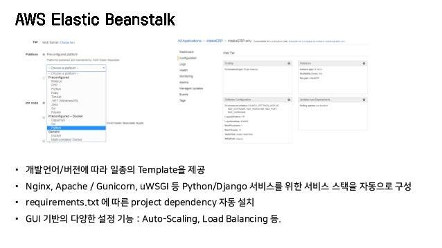 • 개발언어/버전에 따라 일종의 Template을 제공 • Nginx, Apache / Gunicorn, uWSGI 등 Python/Django 서비스를 위한 서비스 스택을 자동으로 구성 • requirements.tx...