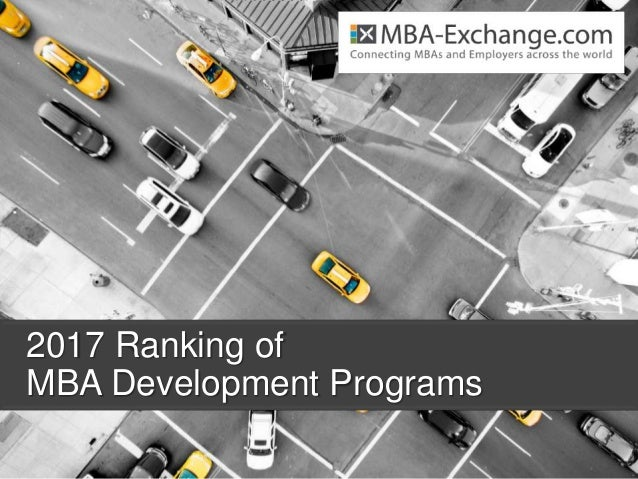 2017 Ranking of MBA Development Programs