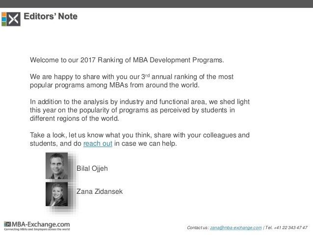 Editors' Note Welcome to our 2017 Ranking of MBA Development Programs. We are happy to share with you our 3rd annual ranki...