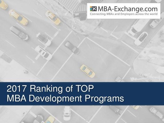 2017 Ranking of TOP MBA Development Programs