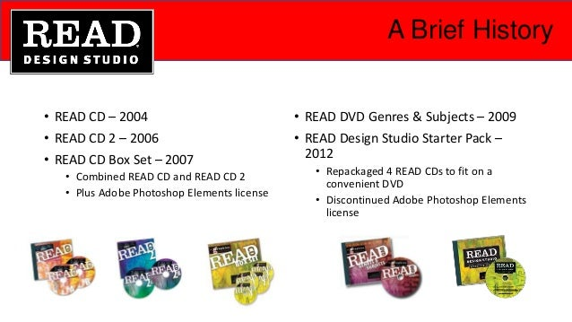 A Brief History • READ CD – 2004 • READ CD 2 – 2006 • READ CD Box Set – 2007 • Combined READ CD and READ CD 2 • Plus Adobe...