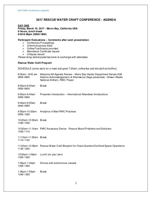 Rescue Water Craft Conference Agenda