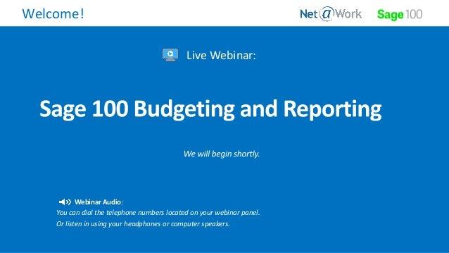 Sage 100 and Budgeting
