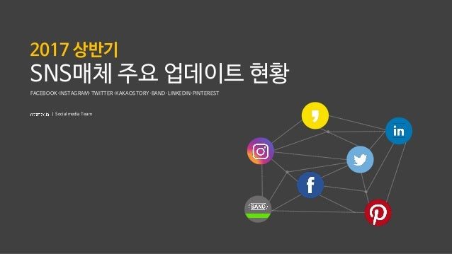 2017 상반기 SNS매체 주요 업데이트 현황 FACEBOOK·INSTAGRAM·TWITTER·KAKAOSTORY·BAND·LINKEDIN·PINTEREST ㅣ Social media Team