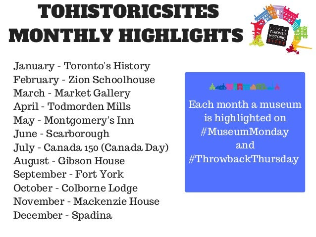 TOHISTORICSITES MONTHLY HIGHLIGHTS January - Toronto's History February - Zion Schoolhouse March - Market Gallery April - ...