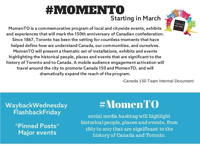 #MOMENTO MomenTO is a commemorative program of local and citywide events, exhibits and experiences that will mark the 150t...