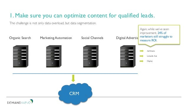 1. Make sure you can optimize content for qualified leads. The challenge is not only data overload, but data segmentation....