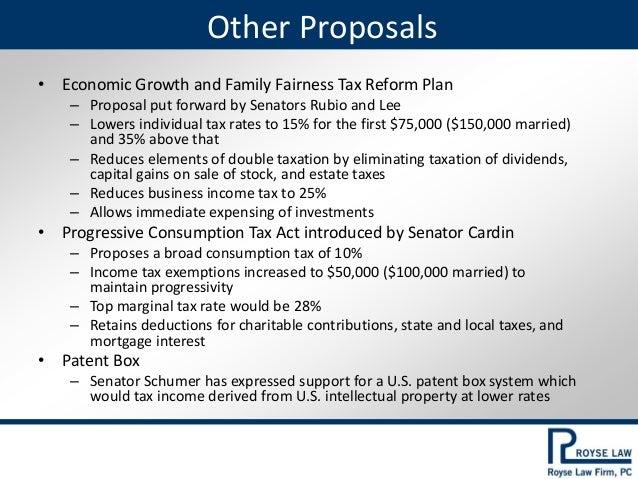 Current Tax Reform Proposals 2017