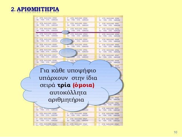 10 Για κάθε υποψήφιο υπάρχουν στην ίδια σειρά τρία (όμοια) αυτοκόλλητα αριθμητήρια Για κάθε υποψήφιο υπάρχουν στην ίδια σε...