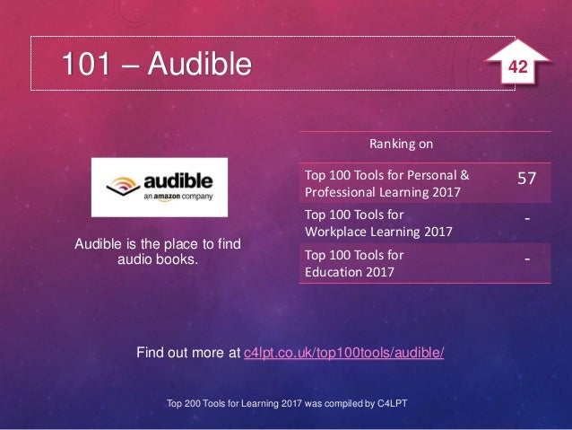 101 – Audible Find out more at c4lpt.co.uk/top100tools/audible/ Audible is the place to find audio books. Ranking on Top 1...