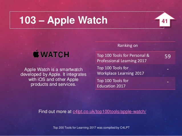 103 – Apple Watch Find out more at c4lpt.co.uk/top100tools/apple-watch/ Apple Watch is a smartwatch developed by Apple. It...