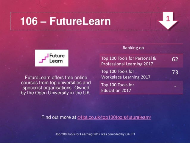 106 – FutureLearn Find out more at c4lpt.co.uk/top100tools/futurelearn/ FutureLearn offers free online courses from top un...