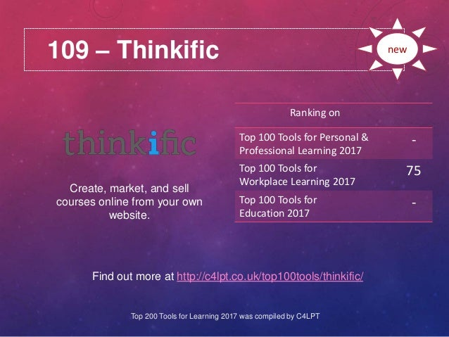 109 – Thinkific Find out more at http://c4lpt.co.uk/top100tools/thinkific/ Ranking on Top 100 Tools for Personal & Profess...
