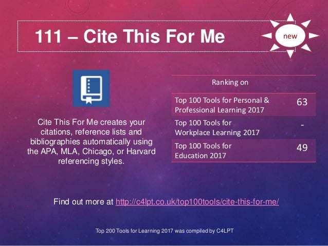 111 – Cite This For Me Find out more at http://c4lpt.co.uk/top100tools/cite-this-for-me/ Ranking on Top 100 Tools for Pers...