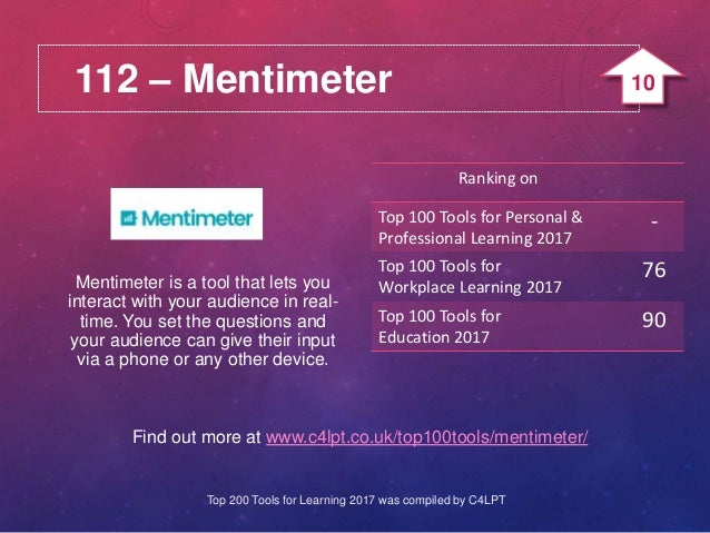 112 – Mentimeter Find out more at www.c4lpt.co.uk/top100tools/mentimeter/ Mentimeter is a tool that lets you interact with...