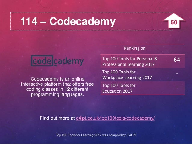 114 – Codecademy Find out more at c4lpt.co.uk/top100tools/codecademy/ Codecademy is an online interactive platform that of...