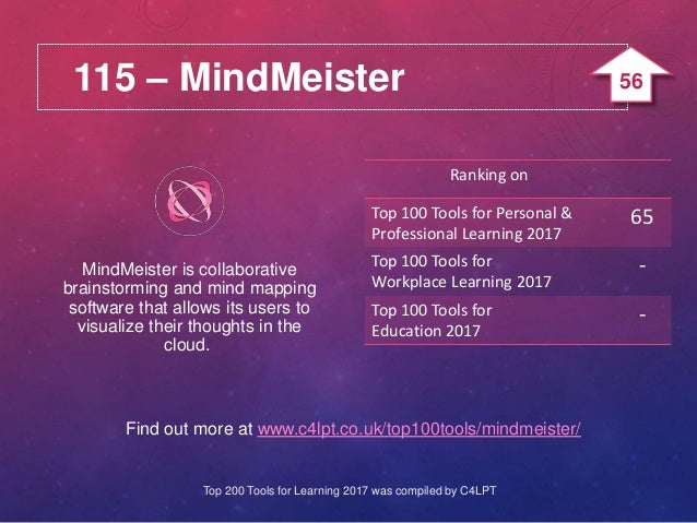 115 – MindMeister Find out more at www.c4lpt.co.uk/top100tools/mindmeister/ MindMeister is collaborative brainstorming and...