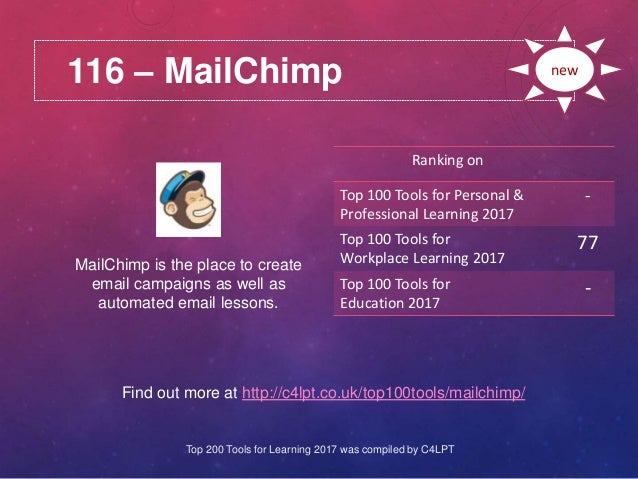 116 – MailChimp Find out more at http://c4lpt.co.uk/top100tools/mailchimp/ Ranking on Top 100 Tools for Personal & Profess...