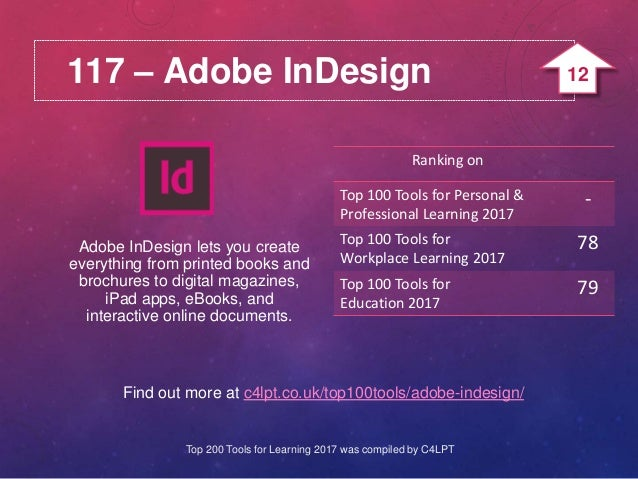 117 – Adobe InDesign Find out more at c4lpt.co.uk/top100tools/adobe-indesign/ Adobe InDesign lets you create everything fr...