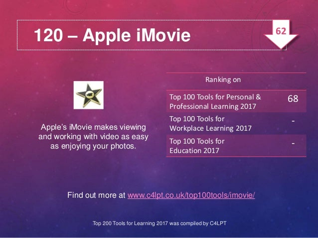 120 – Apple iMovie Apple's iMovie makes viewing and working with video as easy as enjoying your photos. Find out more at w...