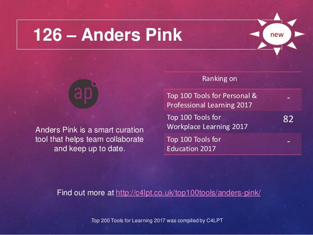 126 – Anders Pink Find out more at http://c4lpt.co.uk/top100tools/anders-pink/ Ranking on Top 100 Tools for Personal & Pro...