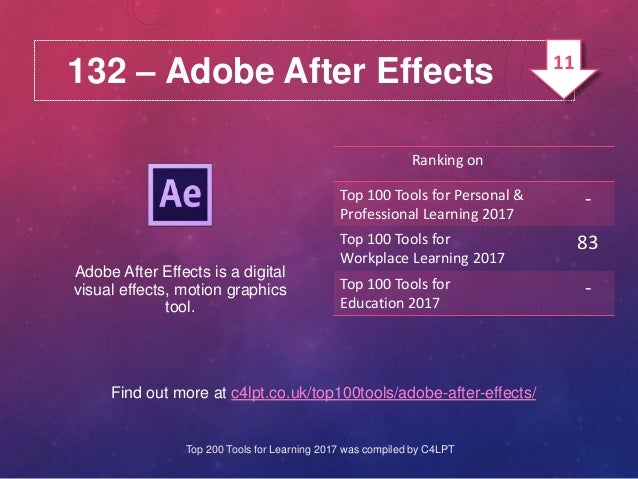 132 – Adobe After Effects Find out more at c4lpt.co.uk/top100tools/adobe-after-effects/ Adobe After Effects is a digital v...